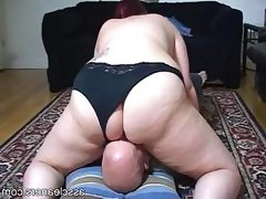 Chubby mistress sits her big fat ass..