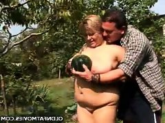 Blonde fatty enjoys outdoor sex