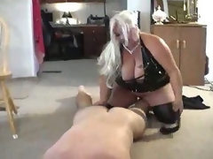 Bbw femdom babe plays with him