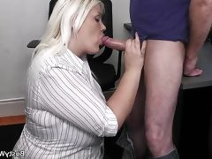 Chubby office girl goes sweet fucking..