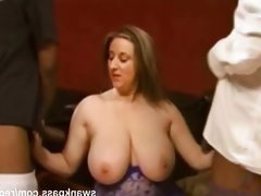 Busty milf double penetrated by black..