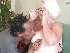 Busty british granny takes young black..