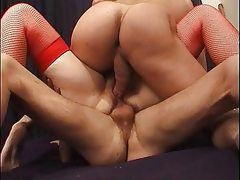French mature takes anal double..