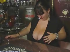 British mature mega boobed barmaid