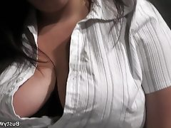 Bbw secretary stocking rides his cock