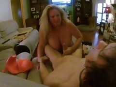 Huge titted slut sucks me while hubby..