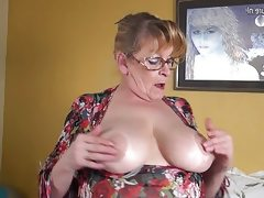 Amateur granny with big boobs and..