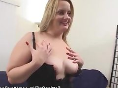 Bbw in lingerie stripped and sucks on..