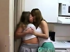 Cute amateur lesbians in the kitchen